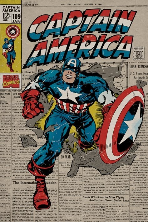Plagát MARVEL - captain america retro