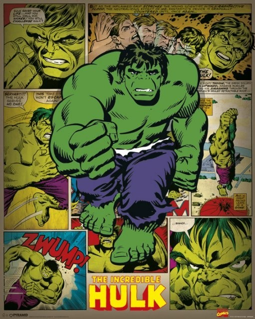 Plagát MARVEL COMICS – incredible hulk retro