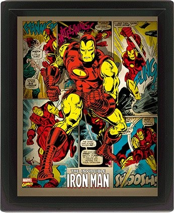 Marvel Retro - Iron Man  - 3D plagát s rámom