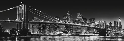 Plagát New York - Brooklyn bridge b/w