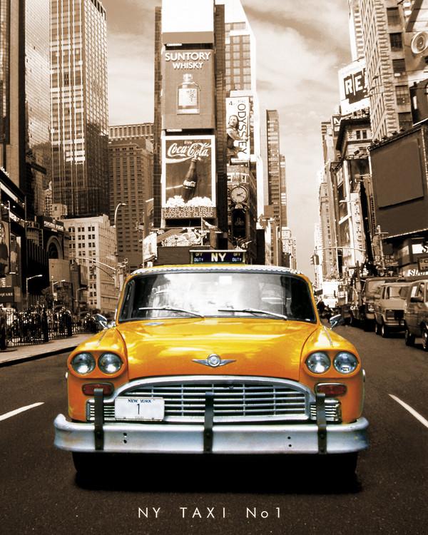 Plagát New York taxi no 1 - sepia