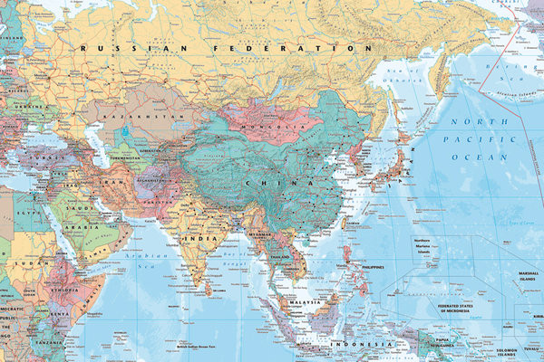 Plagát Politická mapa Ázie a Blízkeho Východu