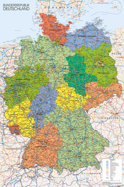Plagát  Politická mapa Nemecka