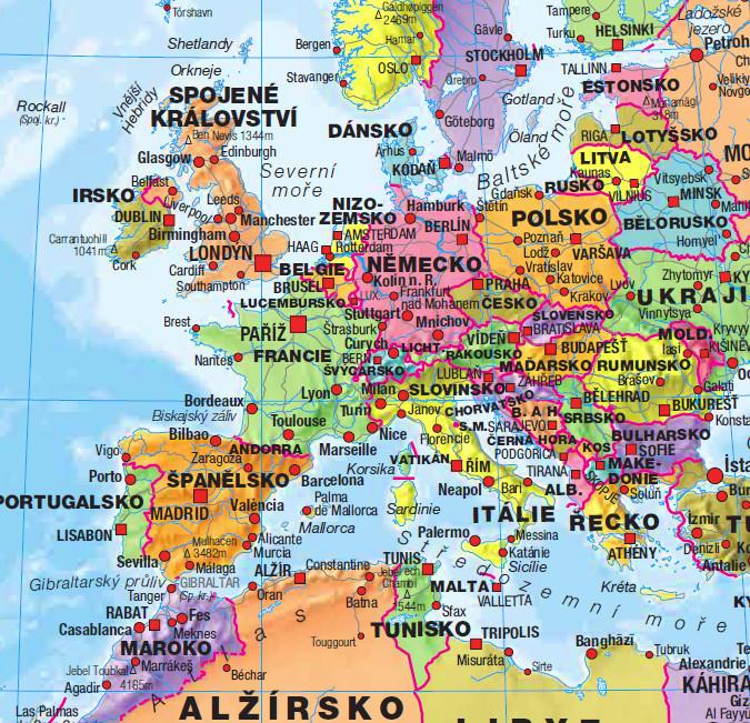 Plagát  Politická mapa světa s vlajkami - Česky