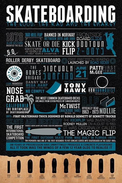 Plagát Skateboarding - The Good, The Rad & The Gnarly