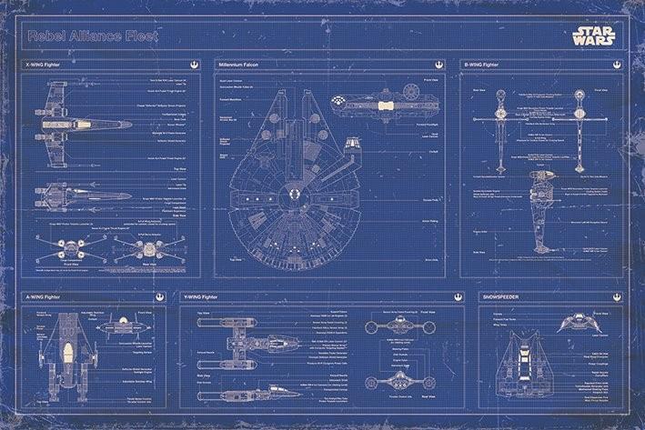 Plagát Star Wars - Rebel Alliance Fleet Blueprint