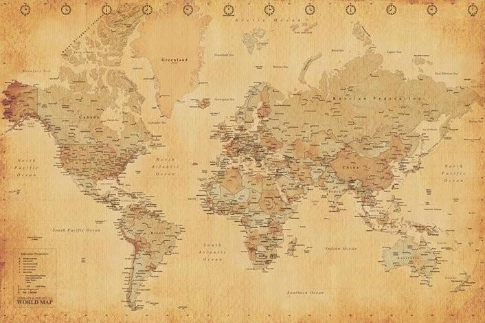 Plagát Starožitná mapa sveta
