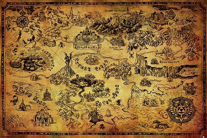 Plagát The Legend Of Zelda - Hyrule Map