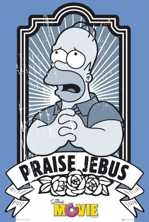 Plagát The Simpsons movie - praise jebus