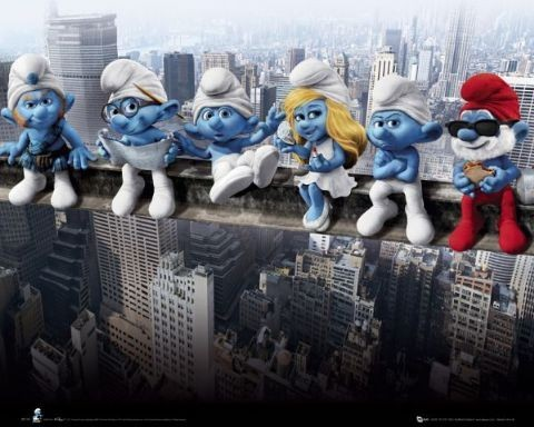 Plagát THE SMURFS - on girder