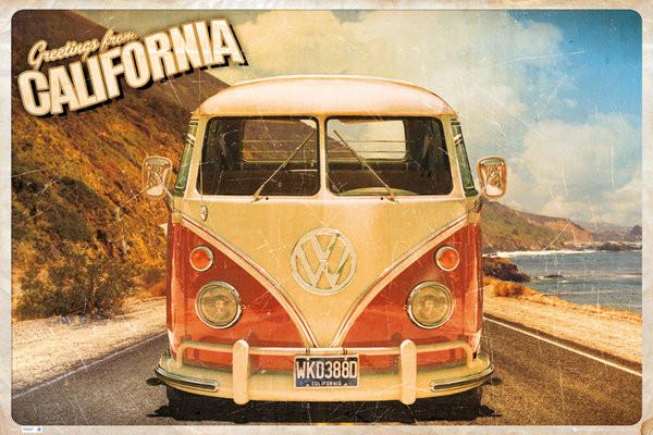 Plagát VW Volkswagen Camper - cali postcard