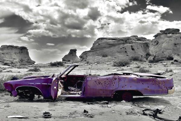 Plagát Wrecked Cadillac