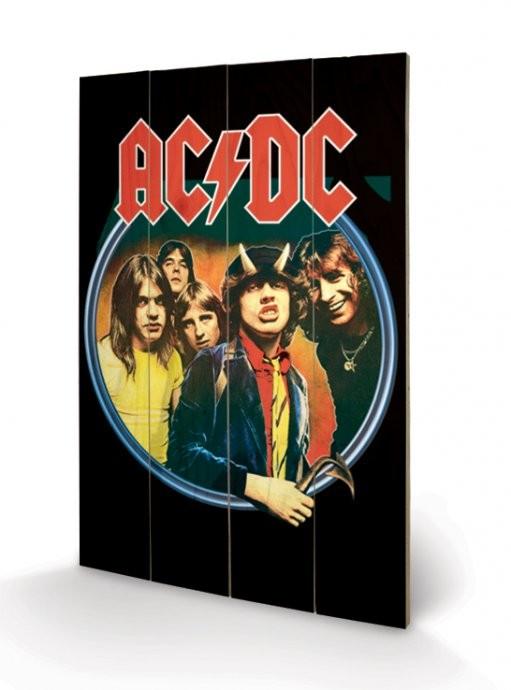 AC/DC - Group plakát fatáblán