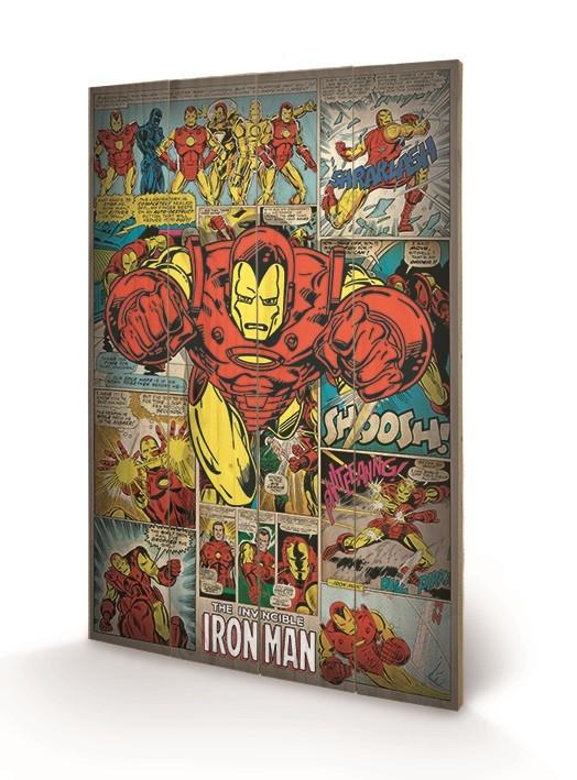Marvel Comics - Iron Man Retro plakát fatáblán