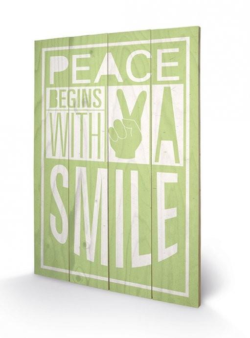Sarah Winter - Peace Begins With A Smile plakát fatáblán