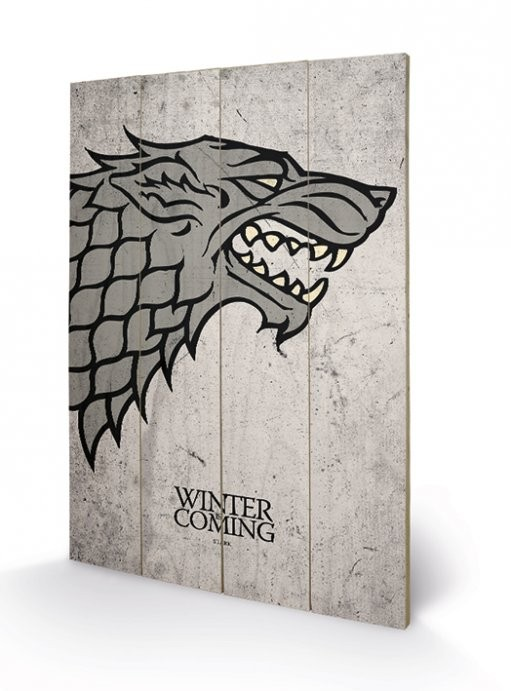 Trónok harca - Game of Thrones - Stark plakát fatáblán