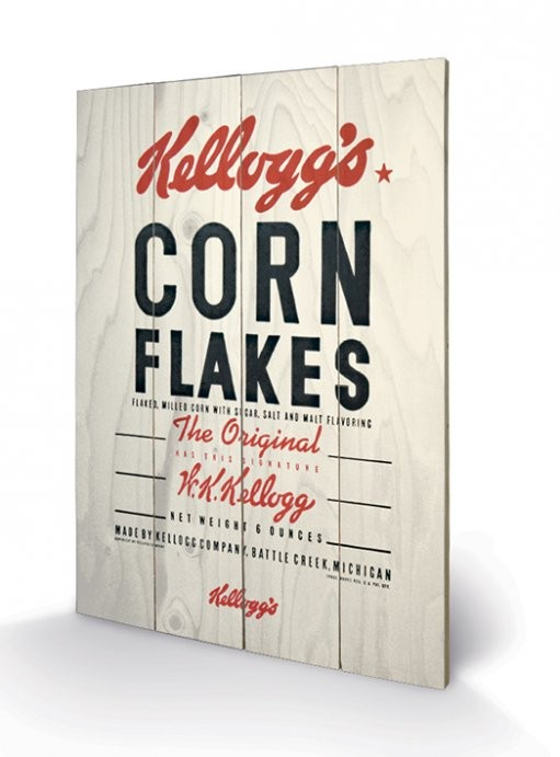 VINTAGE KELLOGGS - corn flakes plakát fatáblán