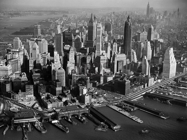 Areal view of Manhattan New York 1956 Kunsttryk