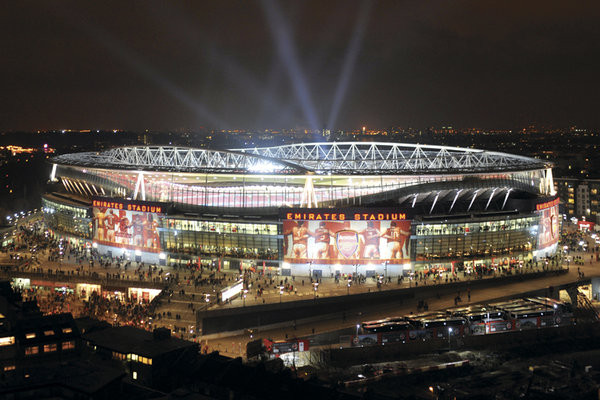 Arsenal - emirates stadium night Plakat