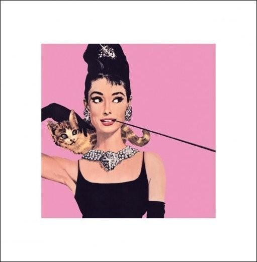 Audrey Hepburn - Pink Kunsttryk