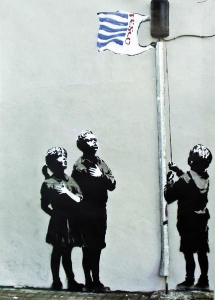 Banksy street art - Graffiti Tesco Flag Plakat