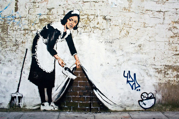 Banksy street art - maid Plakat