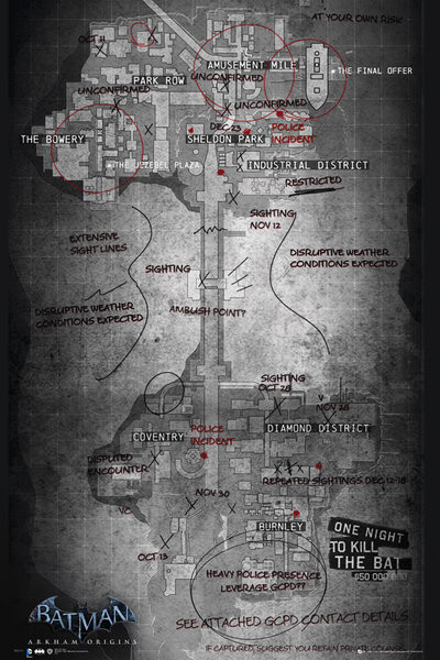Batman Origins Gaming Map Plakat