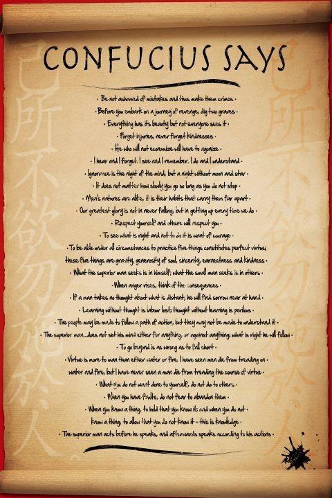 Confucius says Plakat