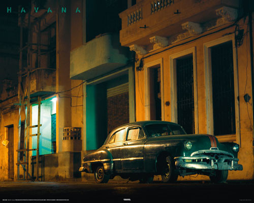 CUBA - green car Plakat