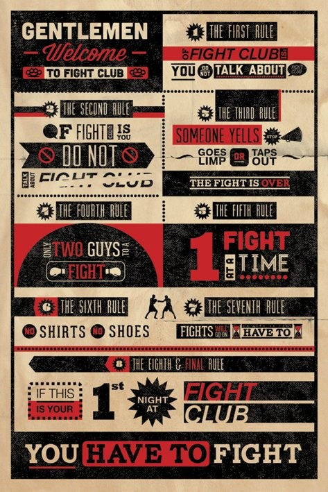 FIGHT CLUB RULES INFOGRAPHIC Plakat