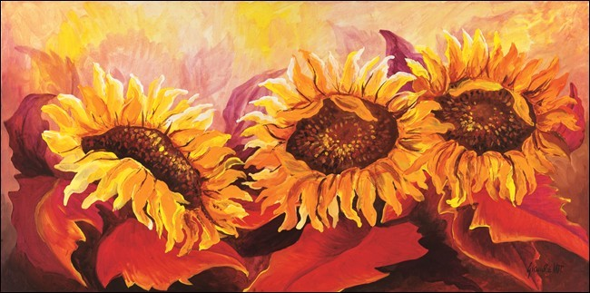Fire Sunflowers Kunsttryk