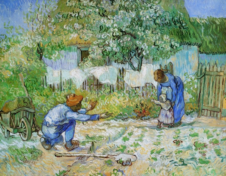 First Steps (after Millet), 1890 Kunsttryk