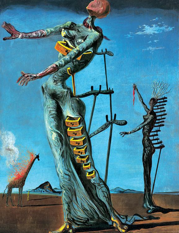Girafe en feu Kunsttryk