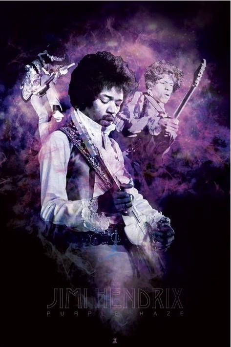 Jimi Hendrix - purple haze smoke Plakat