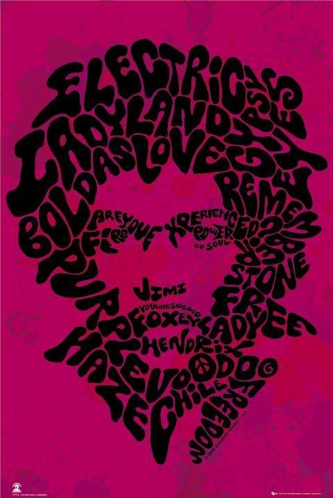 Jimi Hendrix - song titles Plakat