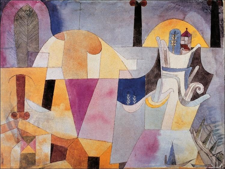 Klee - Paesaggio con colonne Kunsttryk