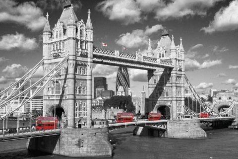Londen - tower bridge buses Plakat