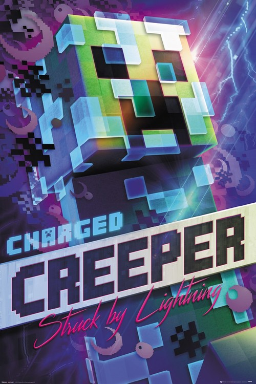 Minecraft Charged Creeper Plakat Poster På Europostersdk
