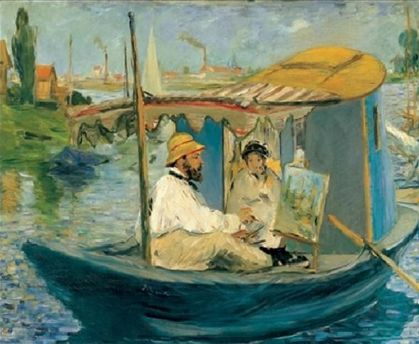 Monet Painting on His Studio Boat Kunsttryk