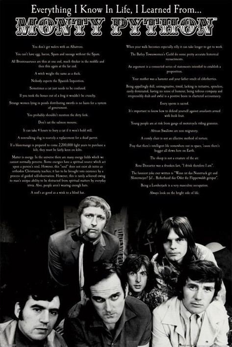 Monty Python - everything i know in life Plakat