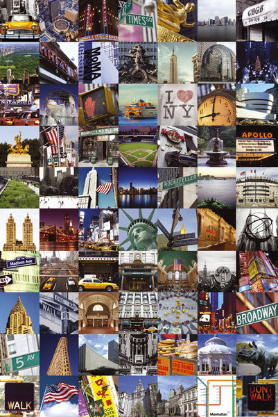 New York - collage s.o.s Plakat