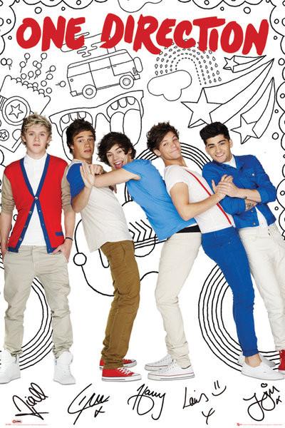 One Direction - cartoon Plakat