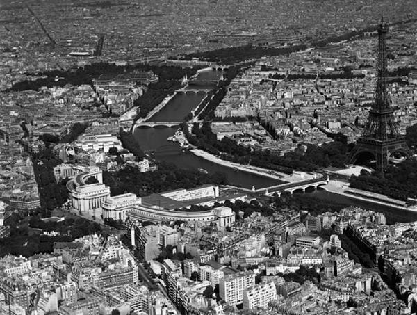 Paris - Aerial view of selected part, 1956 Kunsttryk
