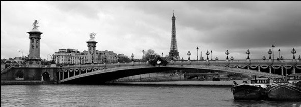 Paris - Pont Alexandre-III and Eiffel tower Kunsttryk