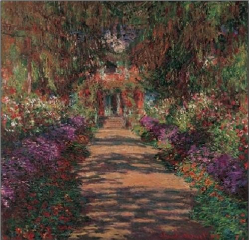 Pathway in Monet's Garden at Giverny, 1902 Reproduktion