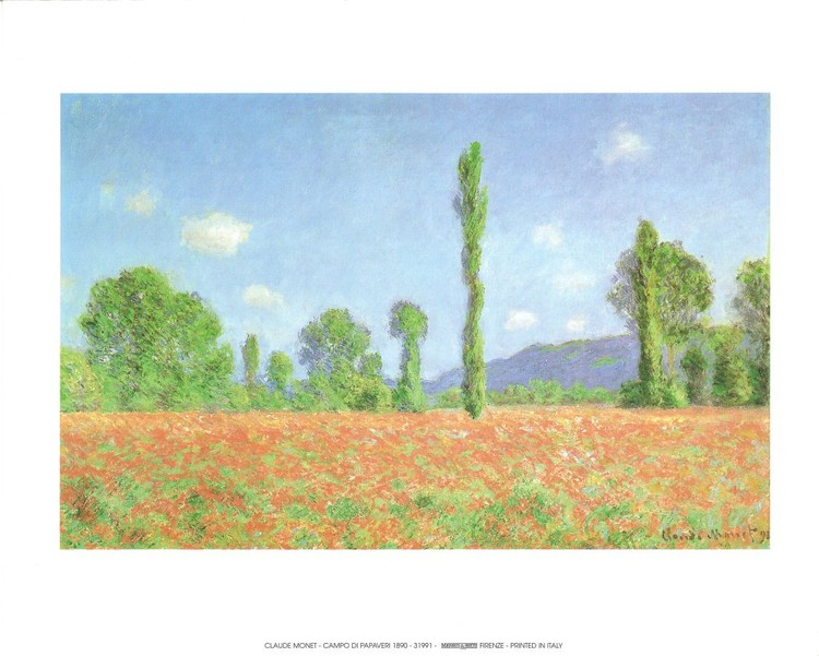 Poppy Field in Giverny, 1890 Kunsttryk