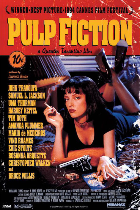 Details about Men's Pulp Fiction Quentin Movie Poster Movie Film T Shirts Black