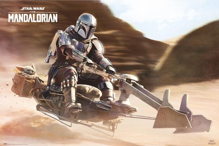 Plakat Star Wars: The Mandalorian - Speeder Bike