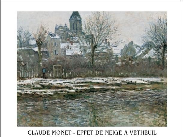 The Church at Vetheuil under Snow, 1878 Kunsttryk
