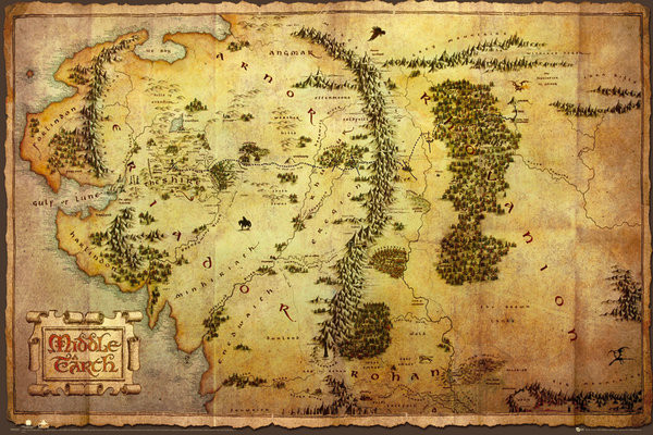 Plakat The Hobbit - Middle Earth Map